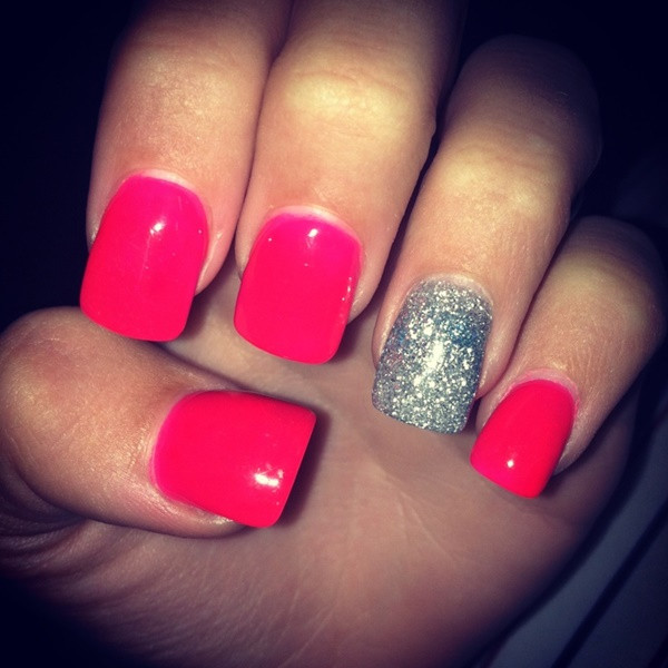 Pink And Glitter Nail Designs  85 Hot Pink Nail Art Designs For Girls