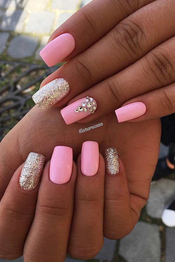 Pink And Glitter Nail Designs  10 Light Pink Nail Designs and Ideas to Try Hairs London