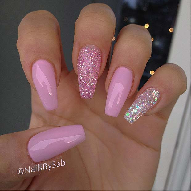 Pink And Glitter Nail Designs  Ridiculously Pretty Ways to Wear Pink Nails crazyforus