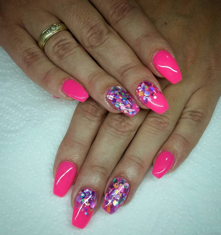 Pink And Glitter Nail Designs  43 Gel Nail Designs Ideas