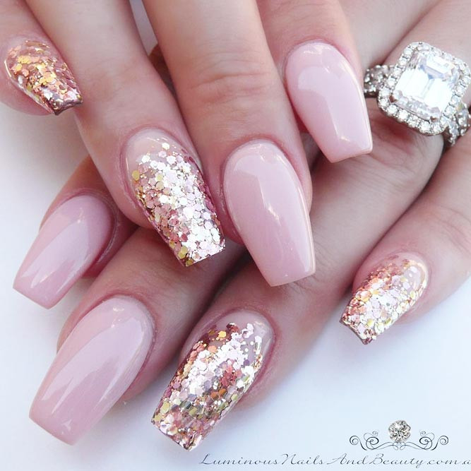 Pink And Glitter Nail Designs  21 Pink Nails Designs to Look Romantic and Girly crazyforus