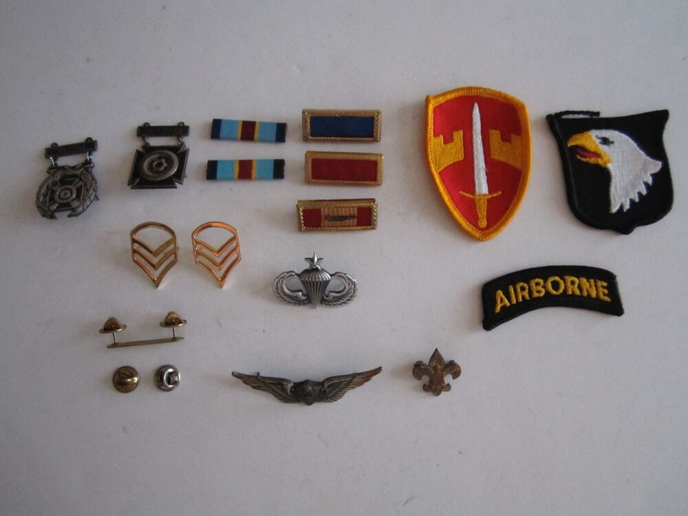 Pins And Patches  LOT OF VINTAGE MILITARY PINS RIBBONS AND PATCHES NICE