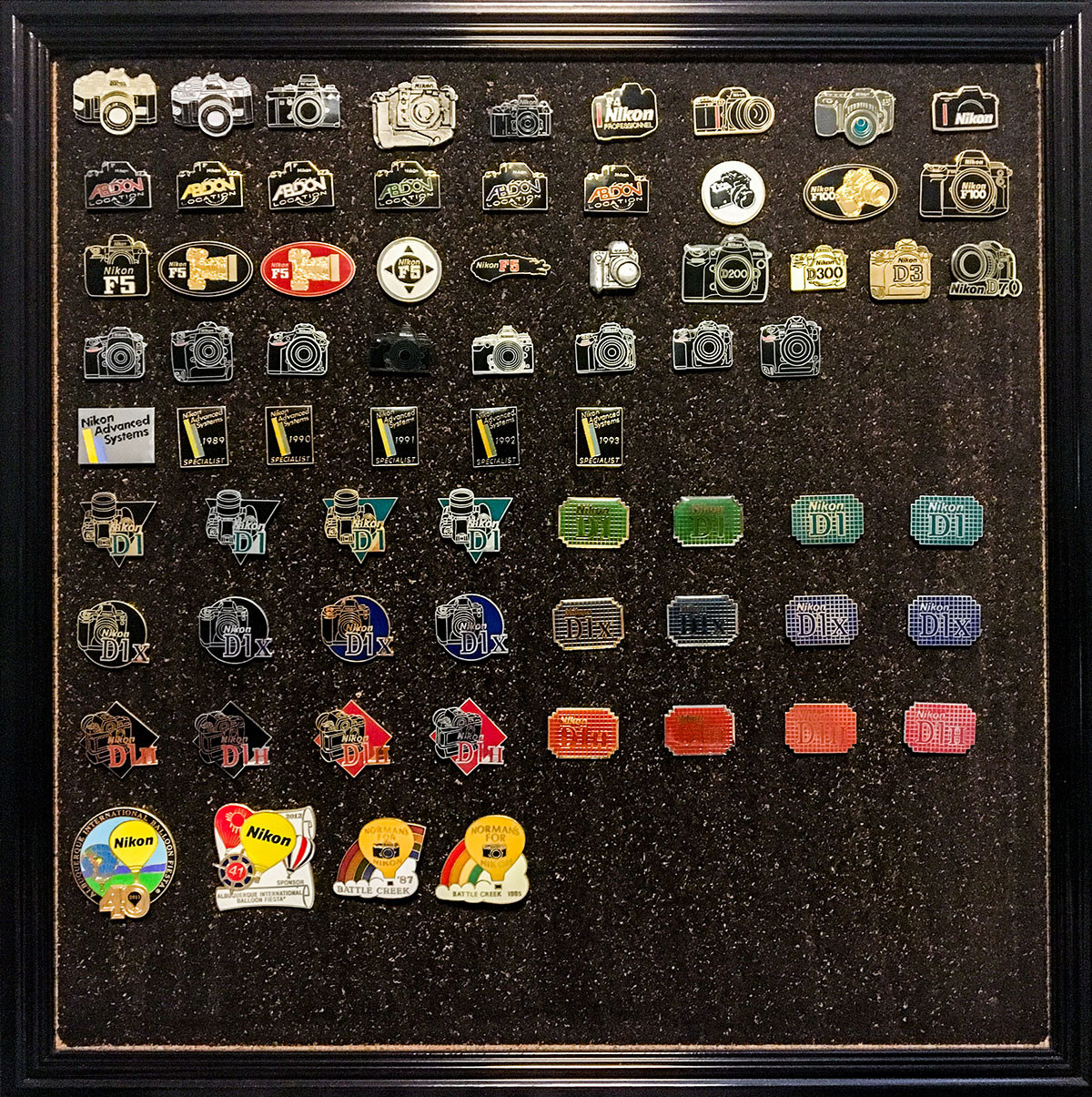 Pins Collection  This is probably the biggest Nikon pin and clasps