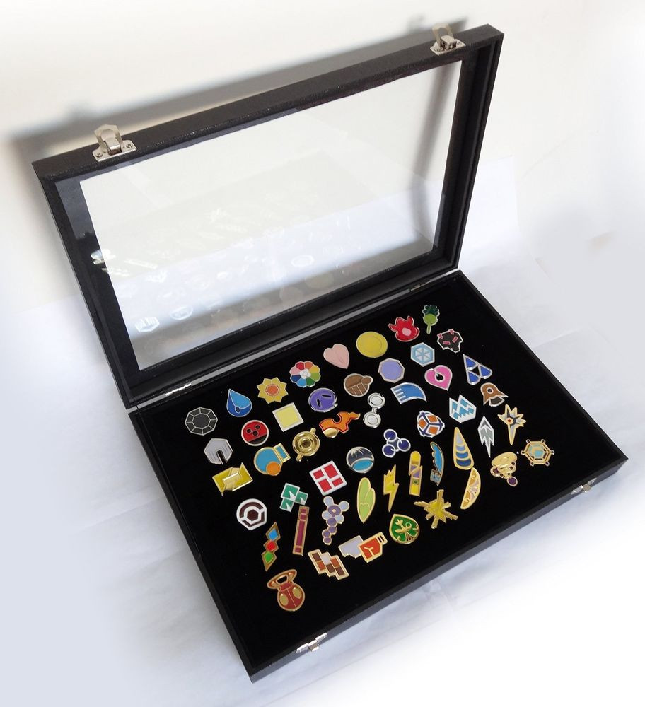 Pins Display  Pokemon Gym Badges with Glass Lid Display Showcase Set of