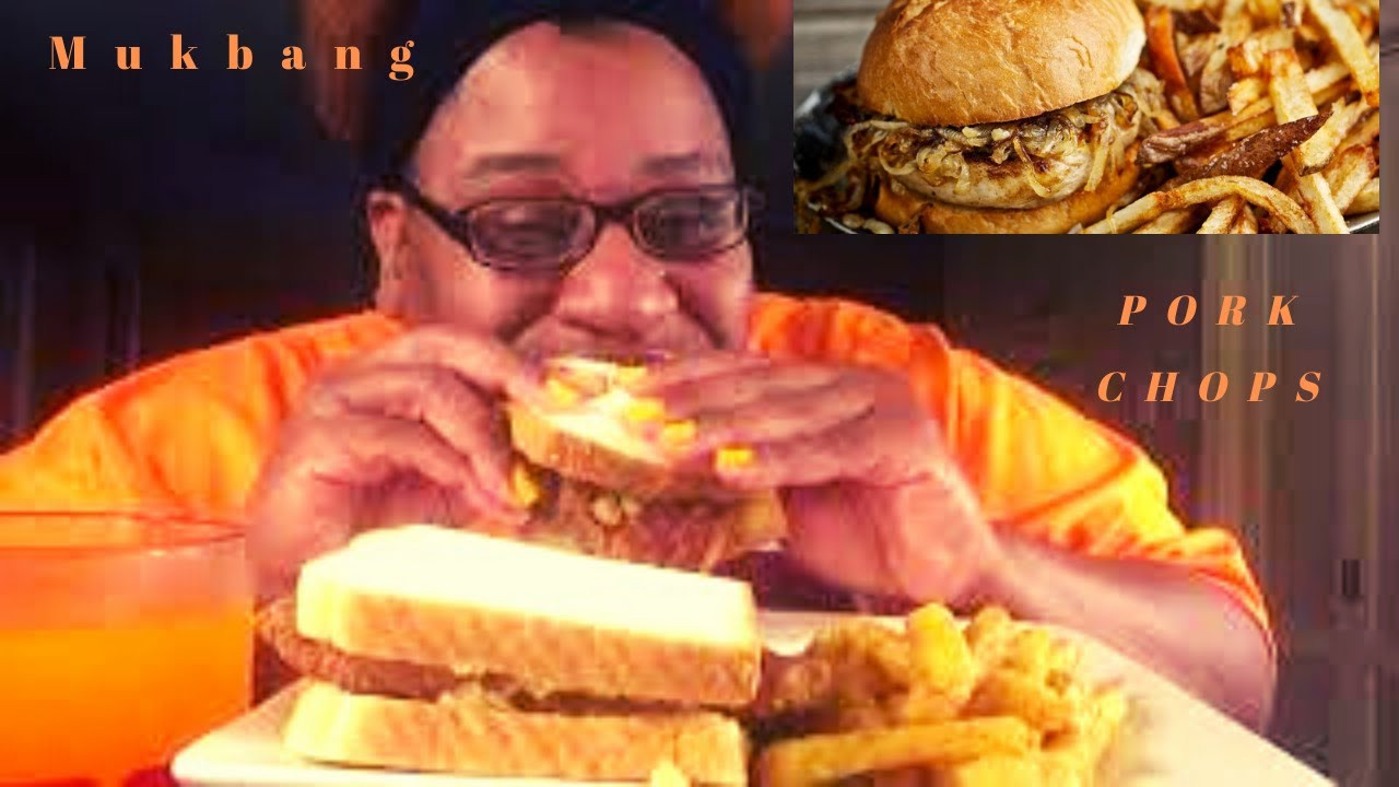 Pork Chop Sandwiches G.I.Joe  FRIED PORK CHOP SANDWICHES MUKBANG W FRIES EATING SHOW