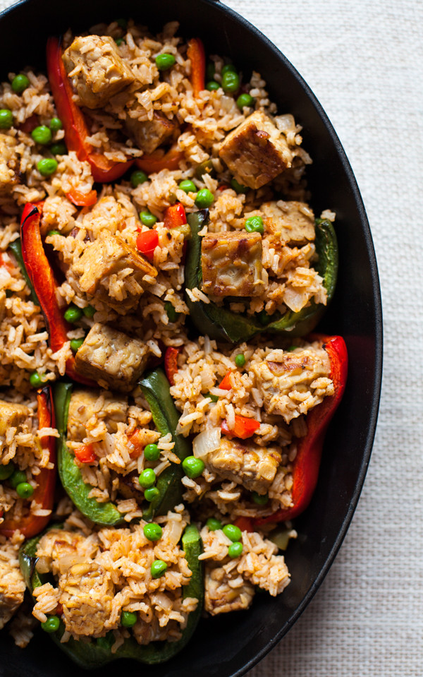 Recipes Using Tempeh  Rice and Tempeh Stuffed Peppers