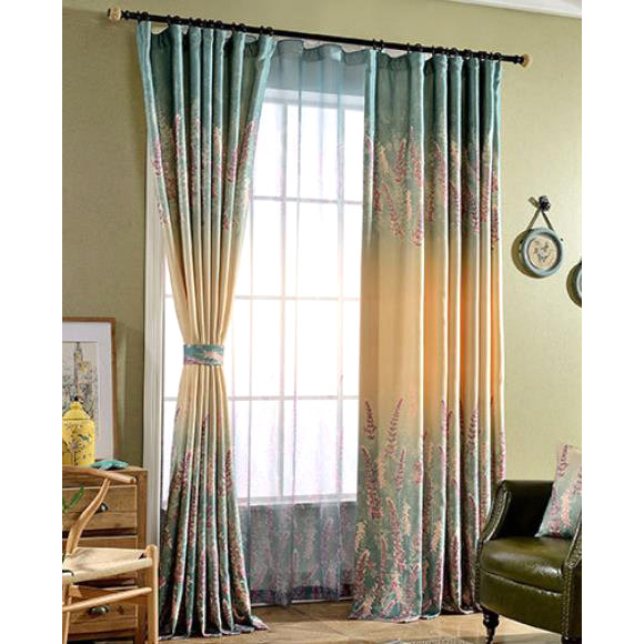 Shabby Chic Bedroom Curtains  Multi color Floral Print Linen Cotton Blend Shabby Chic