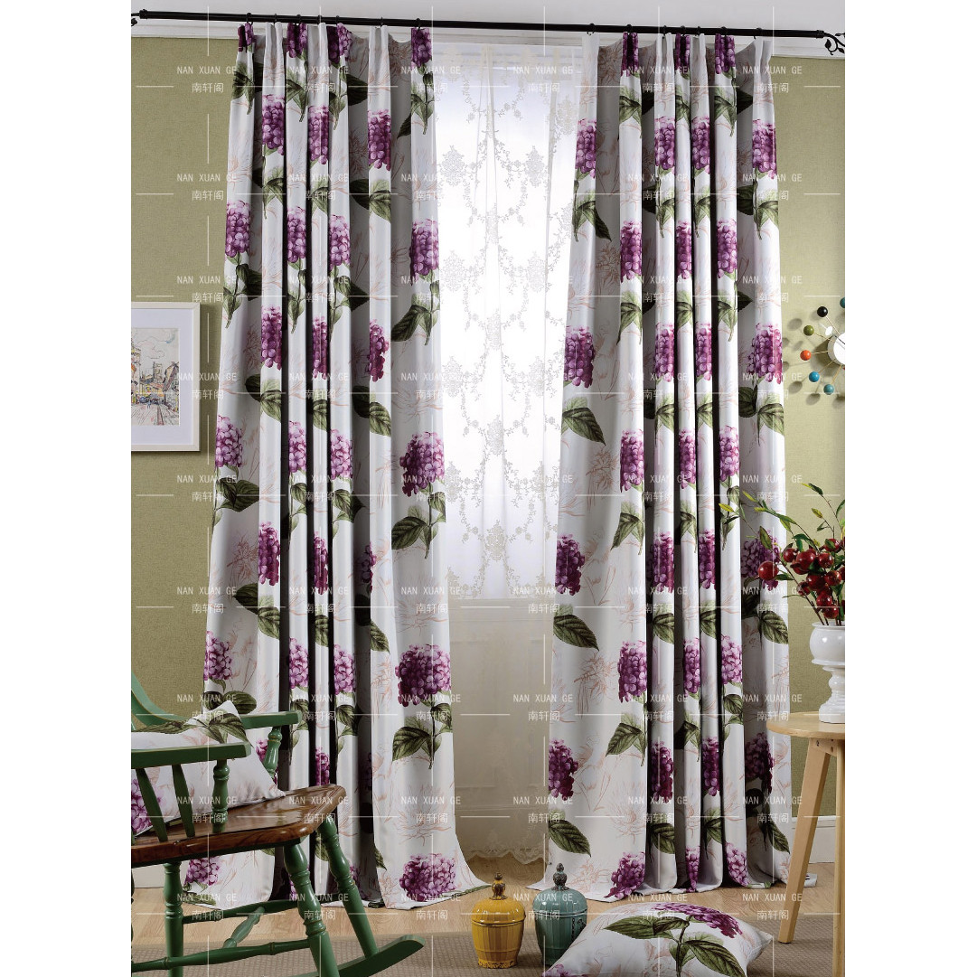 Shabby Chic Bedroom Curtains  Purple Floral Print Polyester Long Shabby Chic Bedroom