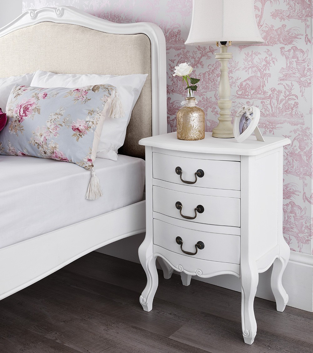 Shabby Chic Bedroom Furniture  Shabby Chic White Upholstered Double Bed