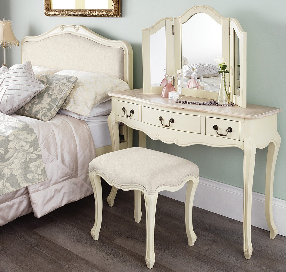 Shabby Chic Bedroom Furniture  Shabby Chic Champagne Dressing Table Mirror
