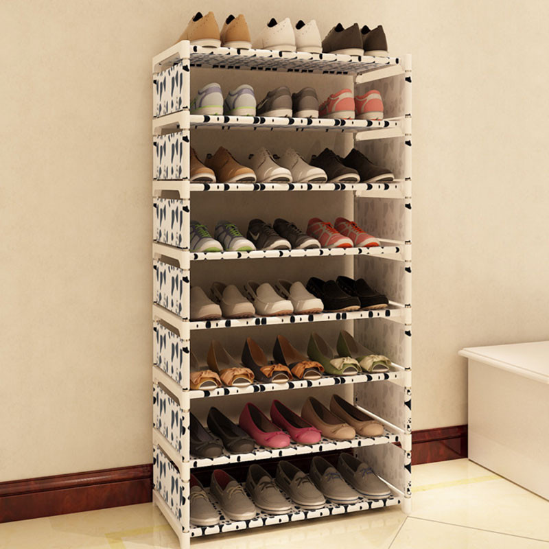 Shoes Organizer DIY  Eight Layers Metal Non woven Cloth Simple Shoe Rack Space