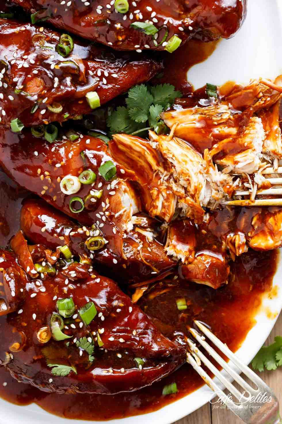 Slow Cooker Chicken Thighs  Slow Cooker Asian Glazed Chicken Cafe Delites