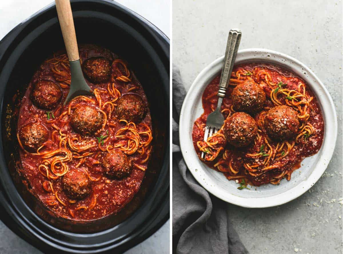 Slow Cooker Spaghetti And Meatballs  Slow Cooker Spaghetti and Meatballs