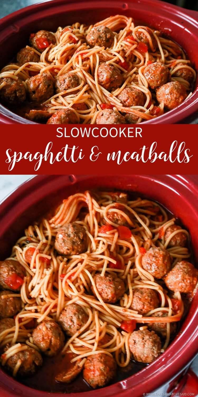 Slow Cooker Spaghetti And Meatballs  Slow Cooker Spaghetti & Meatballs That s What Che Said