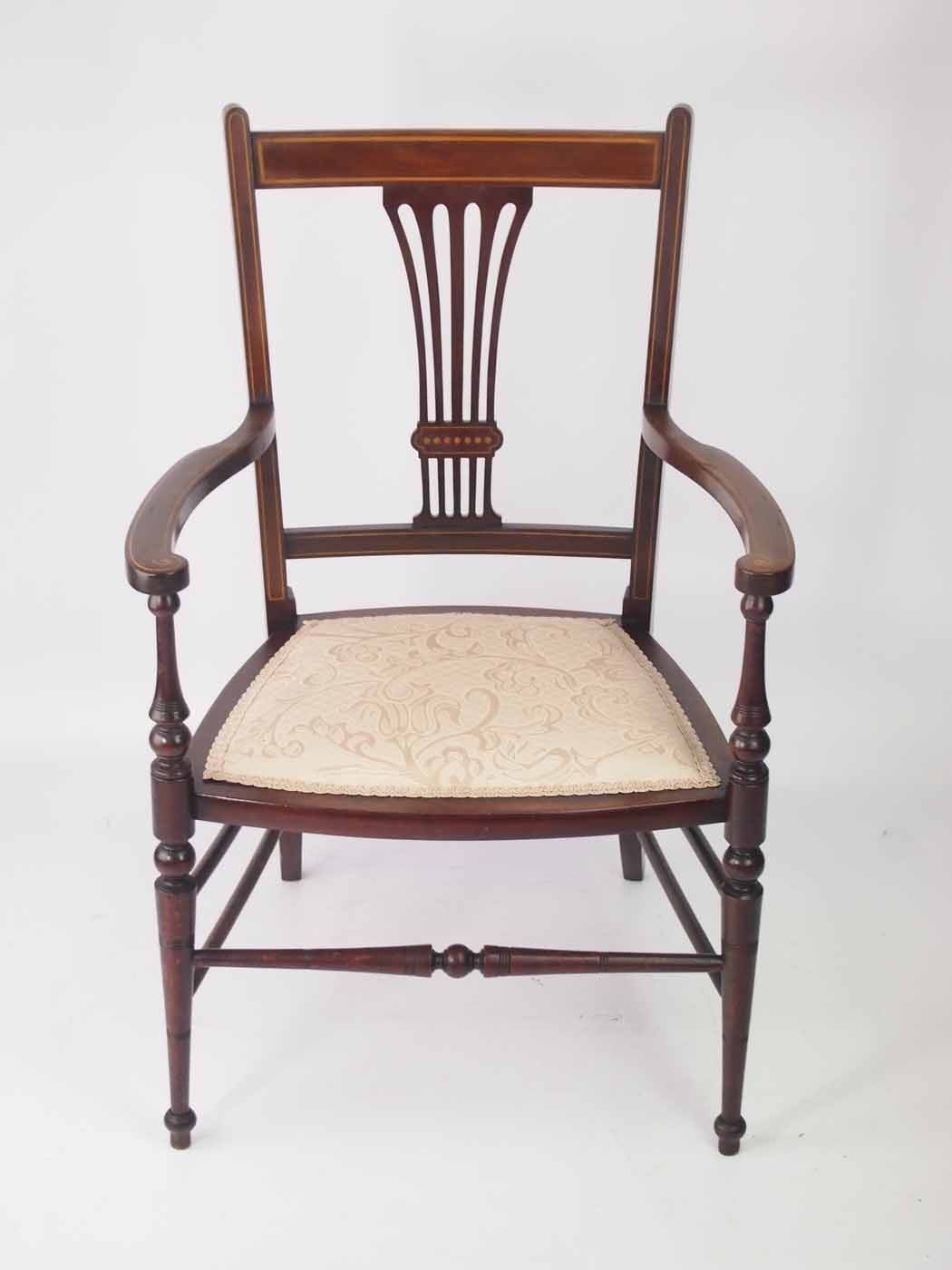 Small Bedroom Chairs  Small Edwardian Open Armchair Bedroom Chair