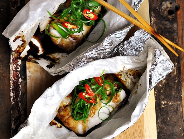 Spring Fish Recipes  Fish Parcels with Ginger & Spring ions Recipe Fuss