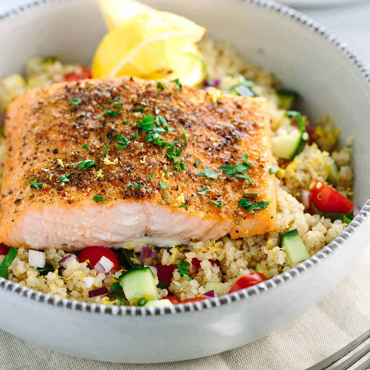 Spring Fish Recipes  Mediterranean Spiced Salmon and Ve able Quinoa