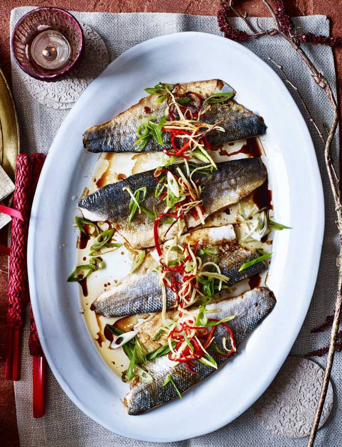 Spring Fish Recipes  Pan fried sea bass with ginger and spring onion recipe