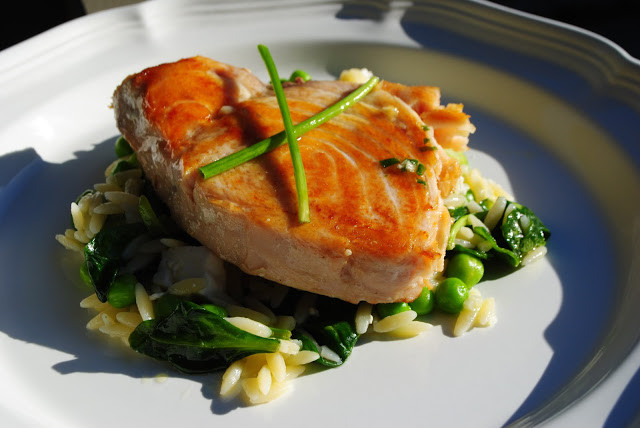 Spring Fish Recipes  Week Night Yum Yum Opah with Spring Ve able Orzo