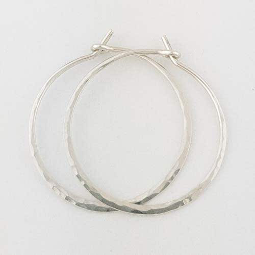 "Sterling Silver Earrings Amazon  Amazon 1"" Thick Hammered Sterling Silver Metal Hoop"