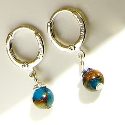 Sterling Silver Earrings Amazon  Blue Crazy Agate Drop13mm Sterling Silver 925 Hoop