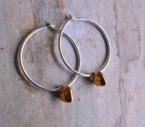 Sterling Silver Earrings Amazon  18mm Sterling Silver Hoop Earrings with Mini Rose Gold