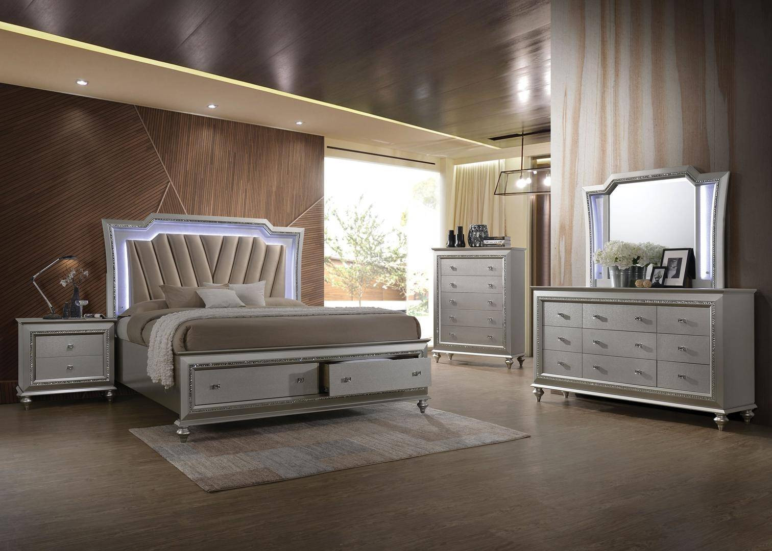 Storage Bedroom Sets  Glam Queen Storage Bedroom Set 5 w Chest w LED Champagne