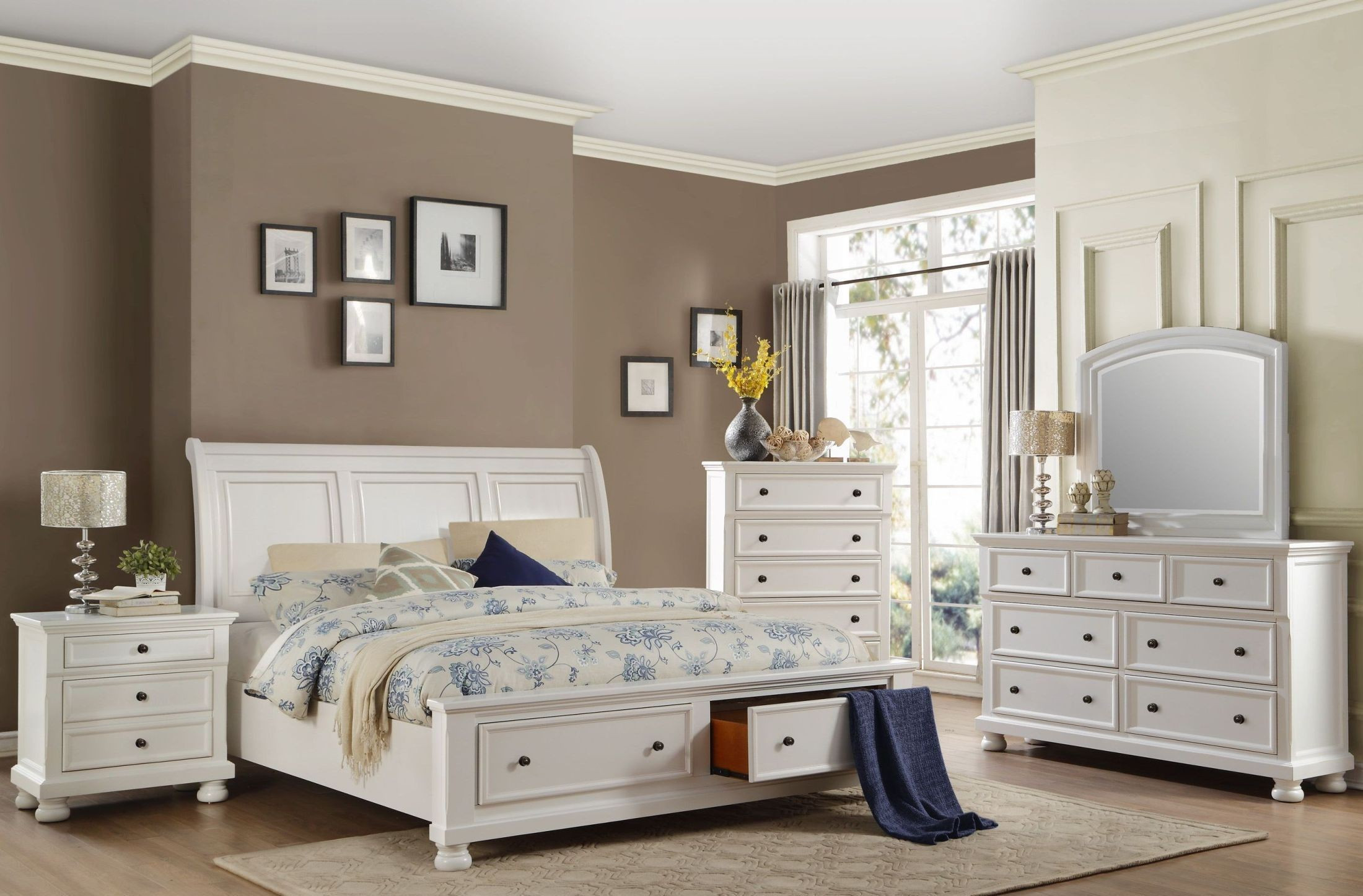Storage Bedroom Sets  Laurelin White Cal King Sleigh Storage Bed from