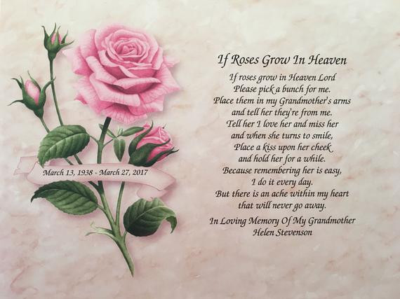 Sympathy Quotes For Loss Of Grandmother  In Memory of Grandmother Sympathy Gift If Roses Grow In