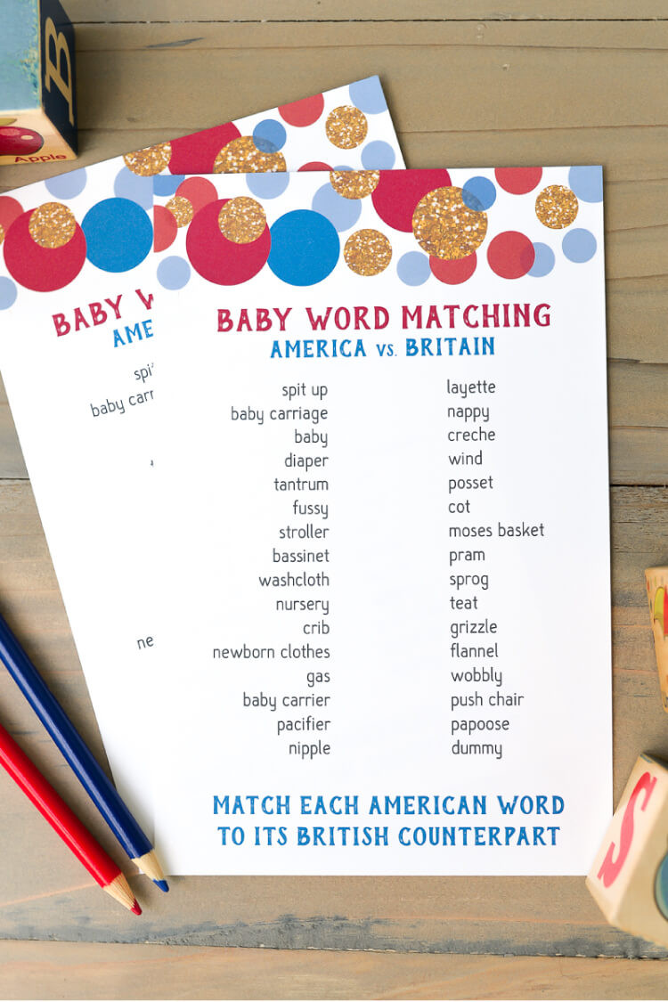 Tea Party Baby Shower Games  American and British Word Matching Baby Shower Game Free