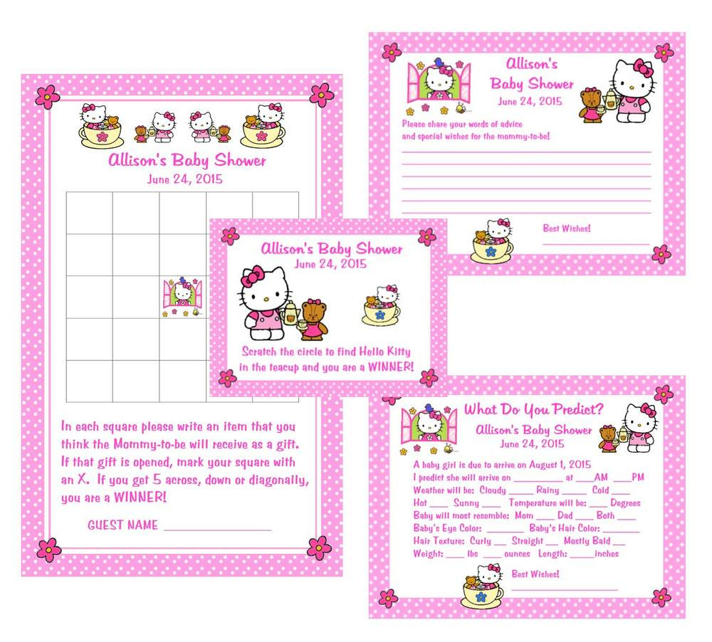 Tea Party Baby Shower Games  Hello Kitty Tea Party Baby Shower Game Package 1