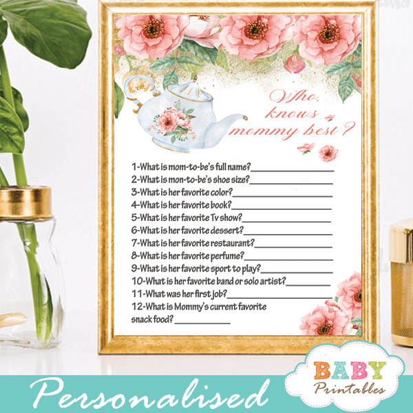 Tea Party Baby Shower Games  Pink Floral Tea Party Baby Shower Games D463 Baby