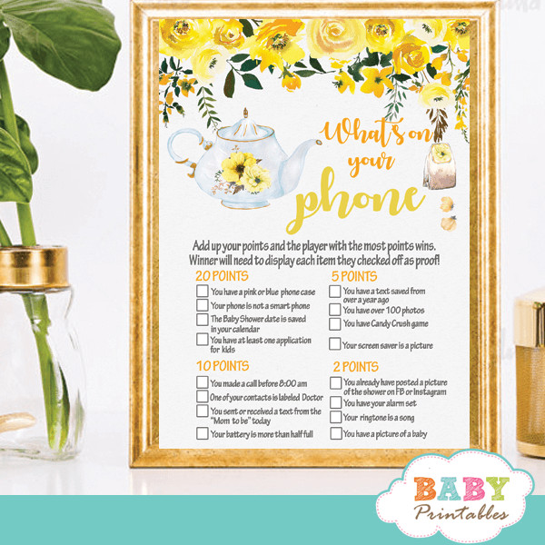 Tea Party Baby Shower Games  Floral Yellow Tea Party Baby Shower Games D465 Baby