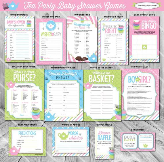 Tea Party Baby Shower Games  Tea Baby Shower Games Printable Game Baby is Brewing Theme