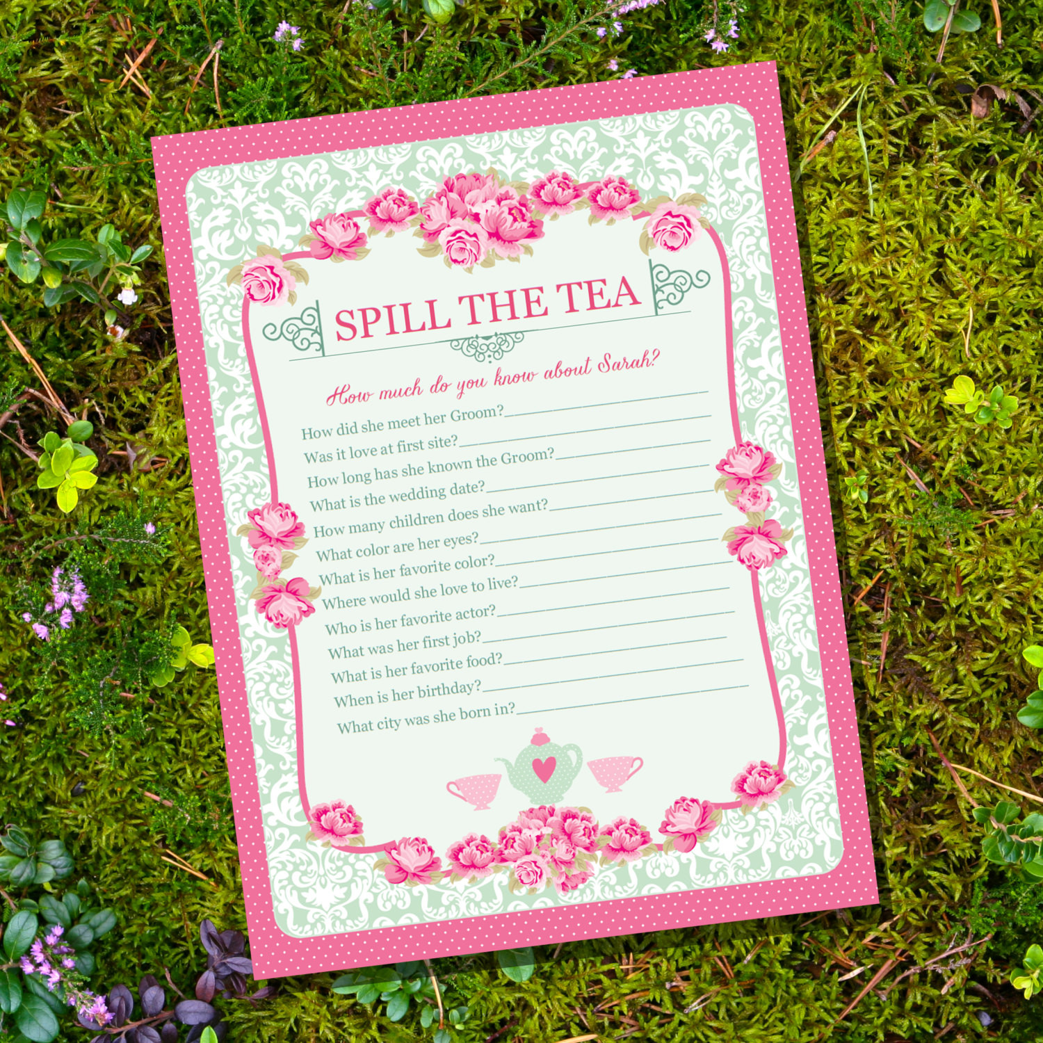Tea Party Baby Shower Games  High Tea Party Game Spill The Tea Party Game Instantly