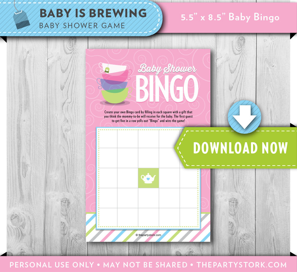 Tea Party Baby Shower Games  Fun Baby Shower Games Tea Party Baby Shower Bingo Cards