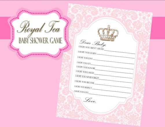 Tea Party Baby Shower Games  ROYAL TEA Party Baby Shower Game Baby Shower by KROWNKREATIONS