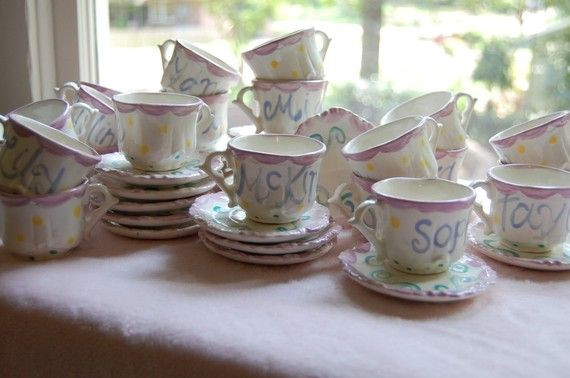 Tea Party Favors For Kids  Personalized Child s Sized Handpainted Tea Cup and Saucer