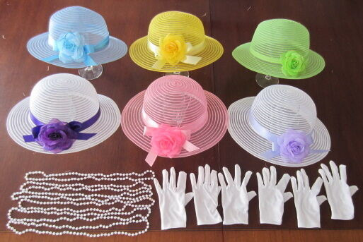 Tea Party Favors For Kids  6 Children s Dress Up Tea Party Hats White Gloves Pearls