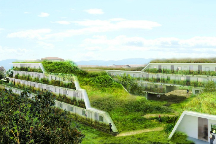 Terrace Landscape Architecture  OFF Architecture s Terraced Green Roofed Apartments To Add