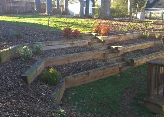 Terrace Landscape With Railroad Ties  43 Backyard Landscaping Retaining Wall Railroad Ties