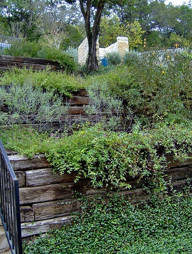 Terrace Landscape With Railroad Ties  69 best images about backyard landscape on Pinterest