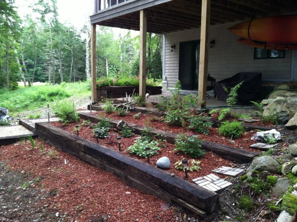 Terrace Landscape With Railroad Ties  Railroad ties for tiered garden bed