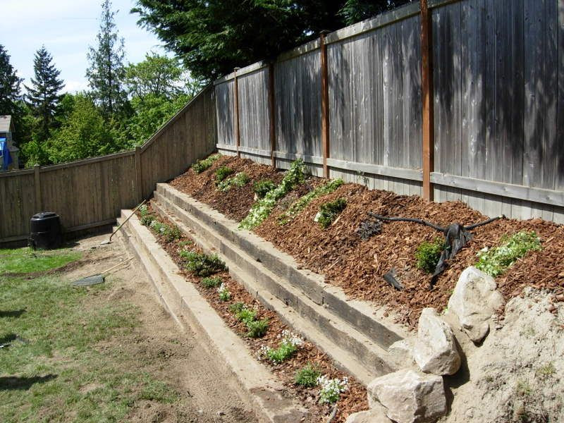 Terrace Landscape With Railroad Ties  More ideas for a small terraced garden