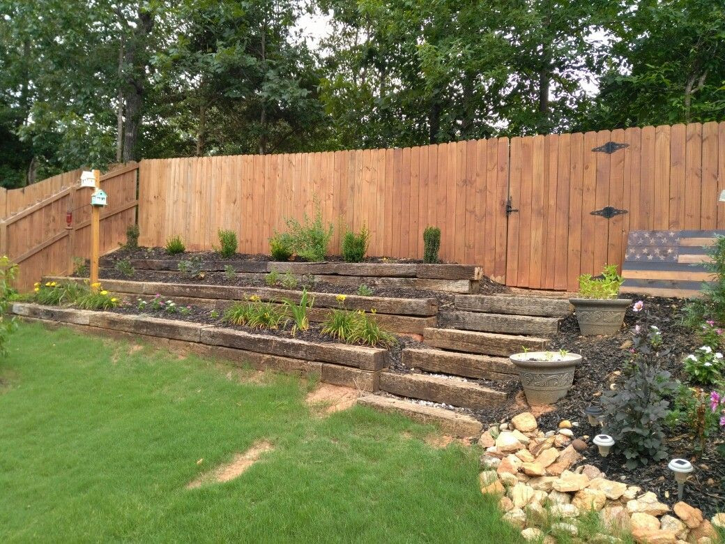 Terrace Landscape With Railroad Ties  Rail road ties for terraced hill in yard