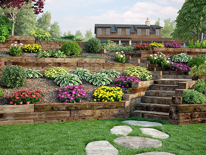 Terrace Landscape With Railroad Ties  Use Outdoor Essentials railroad ties for decorative