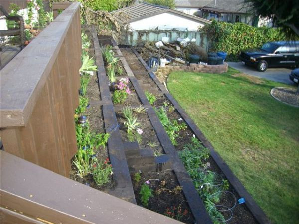 Terrace Landscape With Railroad Ties  25 best images about Gardening on a slope on Pinterest