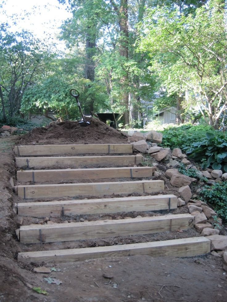 Terrace Landscape With Railroad Ties  how to make hillside railroad tie landscape stairs
