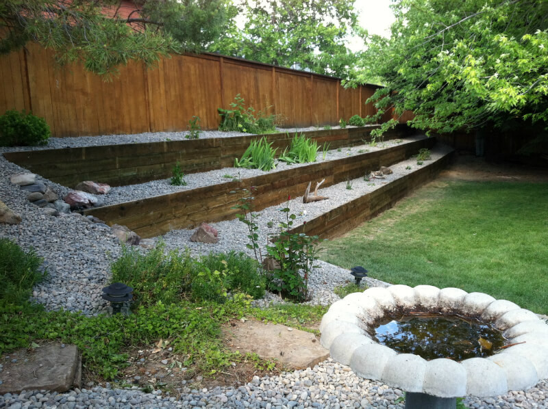 Terrace Landscape With Railroad Ties  Landscaping Railroad Ties Ideas J&W Lumber