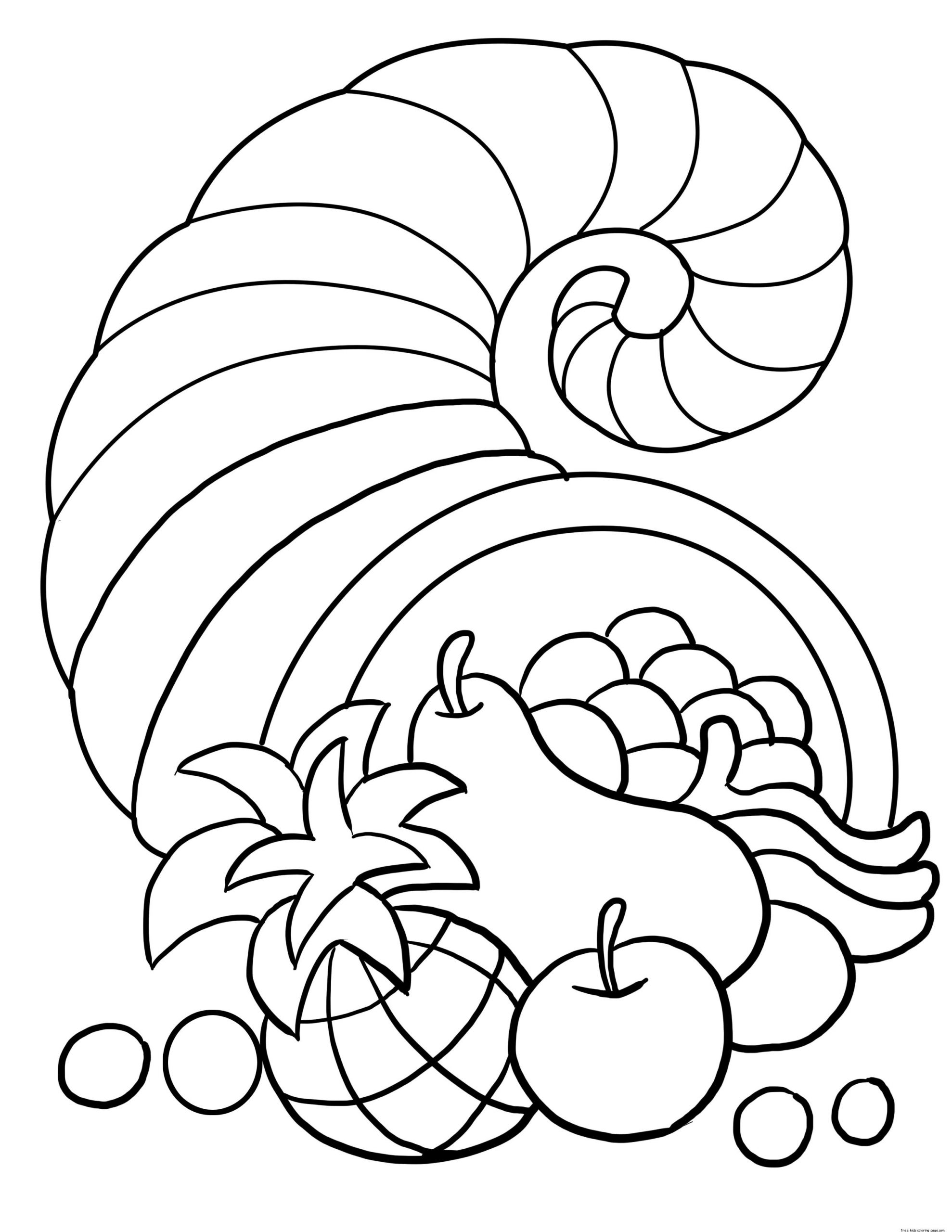 Thanksgiving Coloring Pages For Children  thanksgiving cornucopia coloring sheet for kidsFree